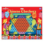 "The ""Chinese Checkers"" Magnetic Game has a beautifully-illustrated board being packaged."