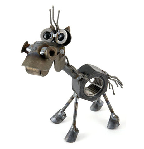 This is a miniature metal sculpture of a horse that has a nut for a body along with a few metal strands for a short mane and tail, a blue marbles for eye balls, and a set of large hooves.