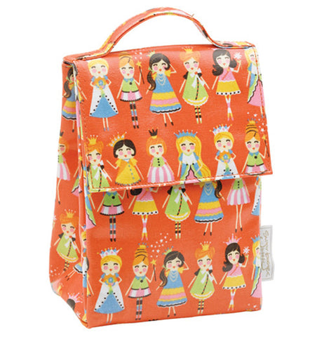 Lunch tote with princesses accompanied by an orange background.