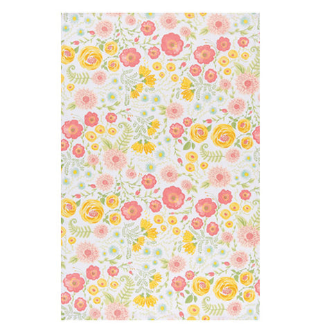 this tablecloth is has many different types of flowers in pink yellow and green
