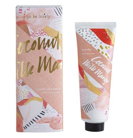 Coconut Milk Mango Hand Creme package with a decorative pattern with peach, orange, yellow, white, black and gold coloring on the packaging