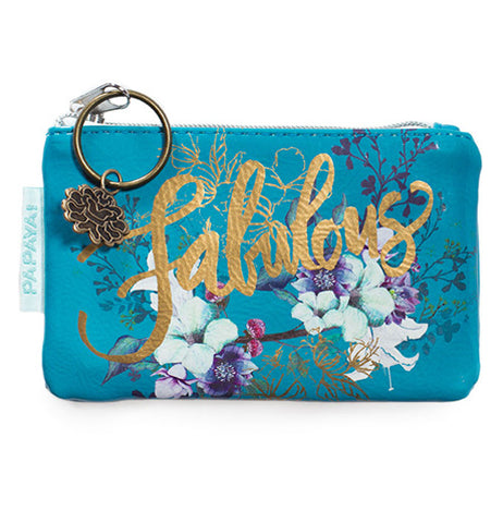 "The ""Jewel Flower"" Coin Purse has blue background with white flowers and a gold cursive that says, ""Fabulous""."