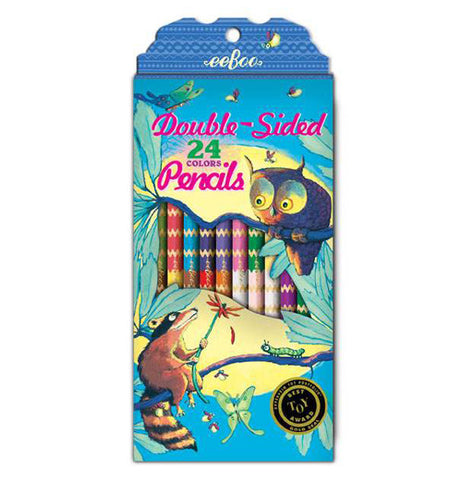 "The ""Raccoon and Owl"" Double-Sided Colored Pencils, which has a set of 12 pencils with 24 colors, has the illustration of a raccoon and an owl sitting on a limb against the moonlight background."