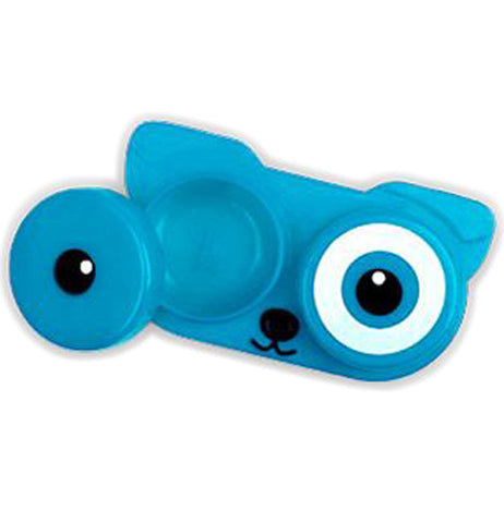 The blue dog contact lens container is shown with one eye-shaped lid opened.