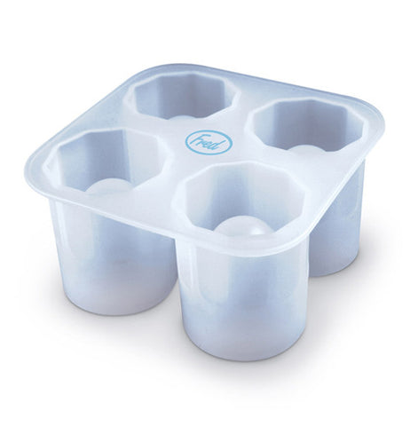 Ice tray that has 4 moulded shot glass shapes