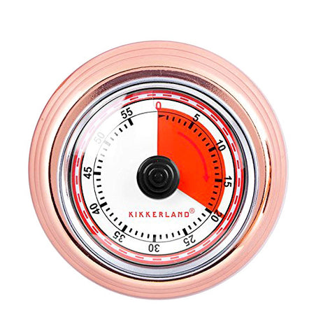 This is a retro kitchen timer with the first 20 minutes in red. The timer goes up to 60 minutes and the outer rim is pink.