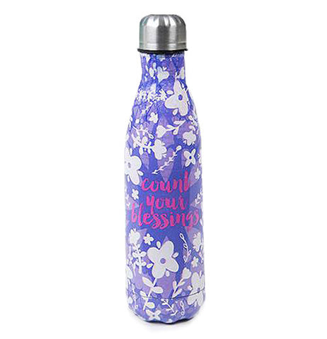 "Water bottle with a purple background and flowers in the foreground and in the center it says ""Count Your Blessings."""