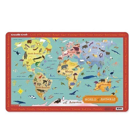 Multi-colored placemat of animals around the world.