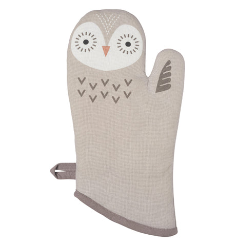 grey oven mitt designed to look like an owl.