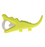 Bottle opener that looks like a yellow crocodile.
