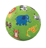 "This green colored ""Jungle Animals"" Playground Ball has a blue elephant, an orange tiger, a brown bear, a black and white panda, a yellow and orange giraffe, a yellow and orange haired lion, and white and black striped zebra."