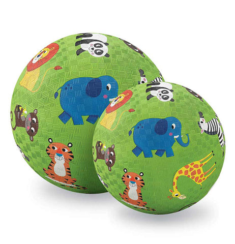 "The picture shows the big and medium ""Jungle Animals"" Playground Ball sitting close to each other."