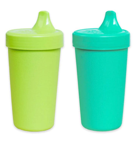 "The Set of 2 ""Aqua"" Spill Proof Cups has the colors of lime and aqua with no-spill lids."