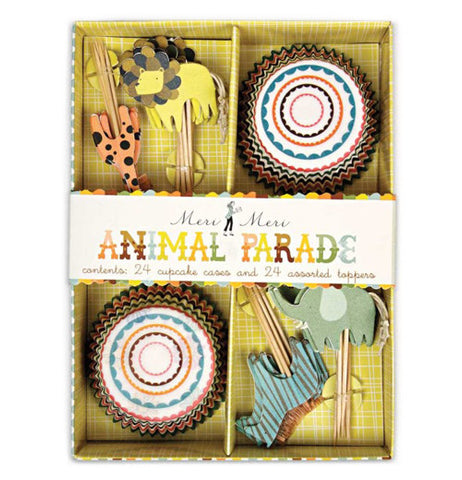 Set of 24 cupcake papers and 24 cupcake toppers featuring an animal parade theme