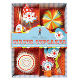 Set of 24 cupcake liners and 24 toppers are circus themed