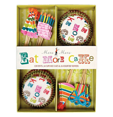 Cupcake kit with eat more cake theme.