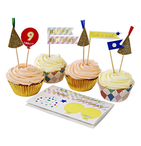 Cupcake kit has hats and the number 9 with little flags.