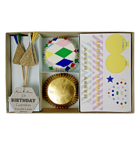 Cupcake kit with gold and muti-colored cupcake cups.