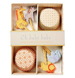 "The ""Oh, Baby, Baby"" Cupcake kit with animal theme packaged in a box."