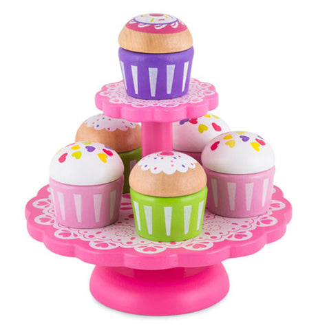a pink cupcake stand with various types of cupcakes who's bottom and tops can be interchanged