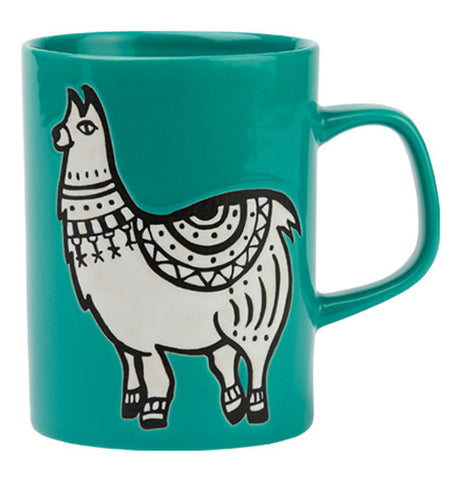 This turquoise ceramic mug has a picture of a white llama.