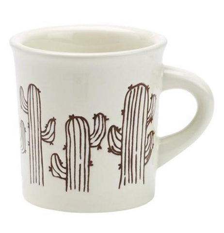 A dinnerware-quality ceramic mug with a desert inspired cactus design.