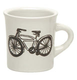 a white mug that has a black outline of a bike on the side