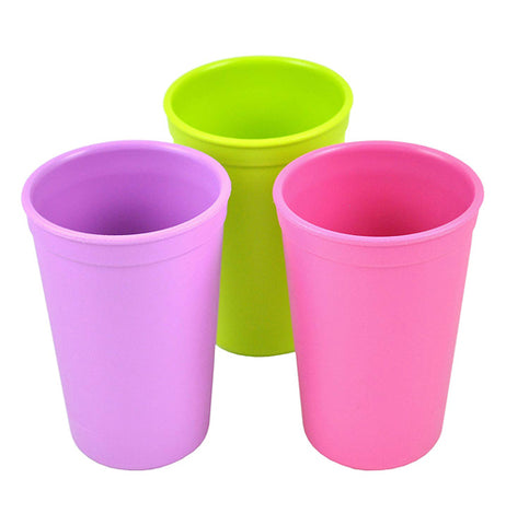 "The ""Butterfly"" Kids Cups in lime green, pink, and purple."