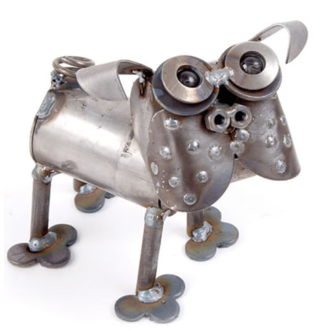 The Mini Pug is a garden ornament that is silver and made out of scrap metal.
