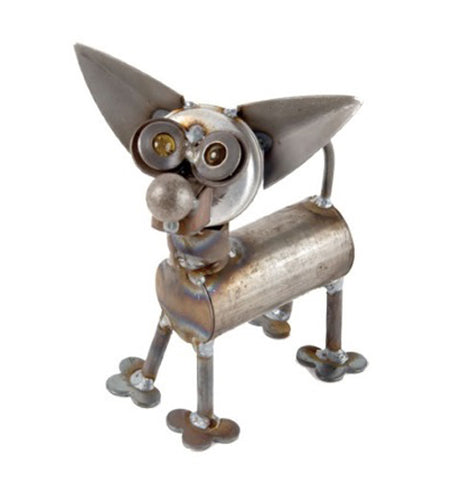 This Chihuahua dog sculpture is made out of scrap metal with long pointy ears, yellow marble eye balls, a round nose, and a curving tail.