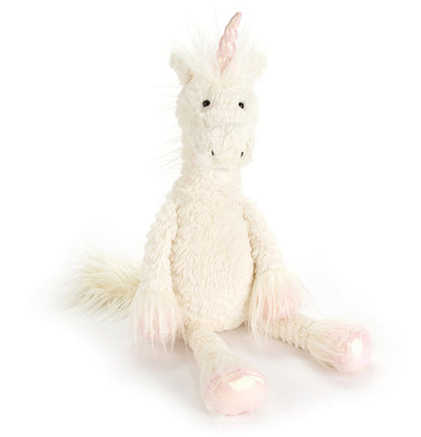 "Dainty's ""Unicorn"" is a white plush stuffed toy a pink horn on top, two pink hands, and two pink feet."
