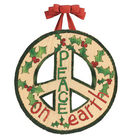 "The ""Peace on Earth"" Door Decor has a decorative peace sign that features holly leaves along with the that says, ""Peace on Earth""."