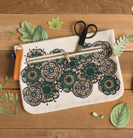 This elegant pouch features an insect and a foliage design in green,gold,and black over a black back ground.