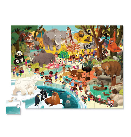 "Completed ""Day at the Zoo"" 48 piece puzzle with people visiting the animals at the zoo."