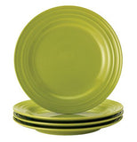 "Set of 4 green 11"" dinner plates."