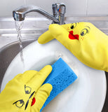 Talking hand dish gloves with faces on them