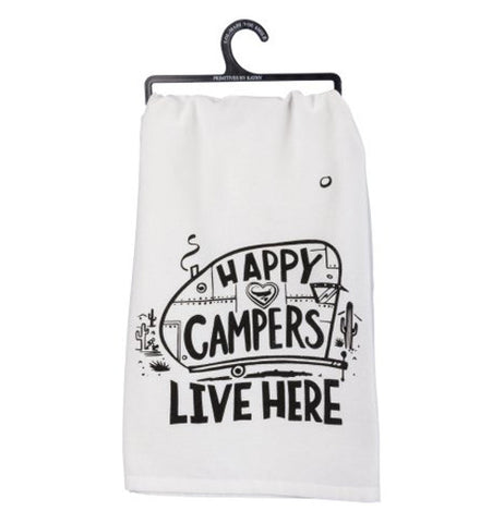 "White tea towel with a camper shell and the words ""happy campers live here"" on the side of it. The background is white."