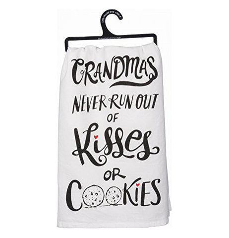 "A white cotton towel. The o's in the word ""cookies"" are cookies."