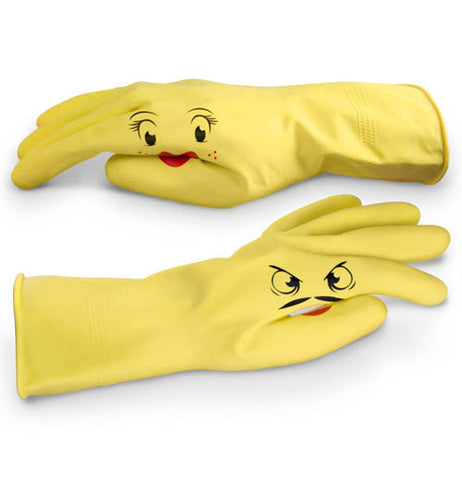 These yellow dish gloves are shown with different faces on them. One is a surprised female face, and the other is a glowering male face with a mustache.
