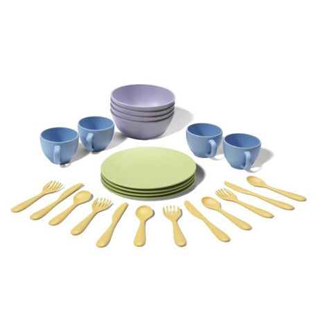 This child's play set includes four green plates, four blue cups, four purple bowls and fours sets of knives, spoons and forks