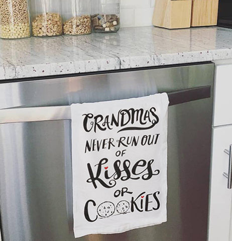 Dish towel hanging over the oven door