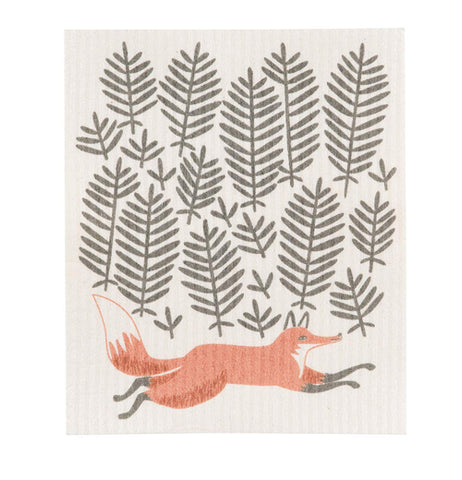 "The ""Hill and Dale"" Swedish Dish Cloth features a fox running against a background of gray foliage.."