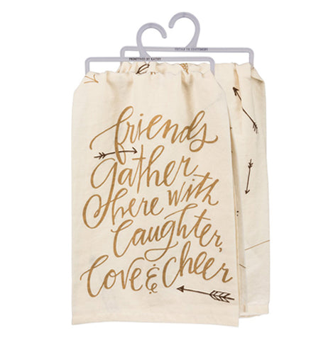 "Off-white background with the words ""friends gather here with Laughter, Love & Cheer"" on it."