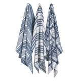 Picture of three jumbo dish towels that are blue, grey, and white coloring in either a checkered or striped pattern