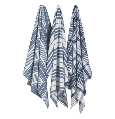 Picture of three jumbo dish towels that are blue, grey, and white coloring in either a checkered or striped pattern.