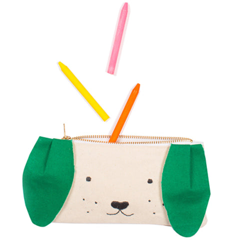 "The ""Dog"" Pouch has the opened zipper with three crayons taken out."