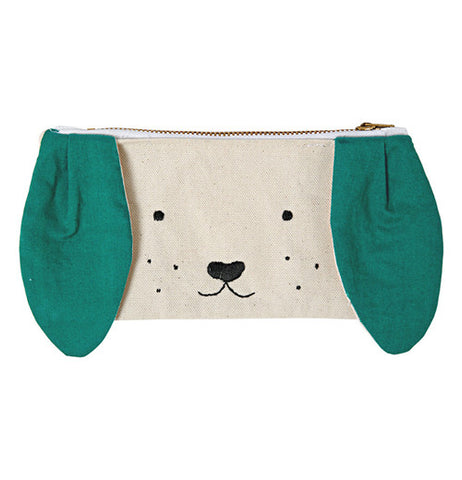 Dog pouch that has green floppy ears along with metal zipper and is lined in cotton.