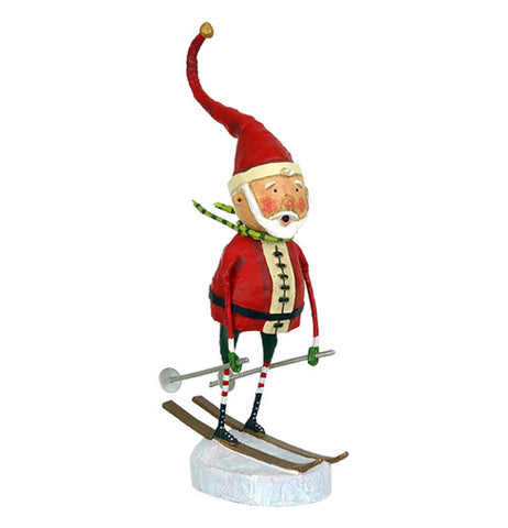 This Santa Claus figurine is shown skiing on a snow base on brown skis with silver poles.