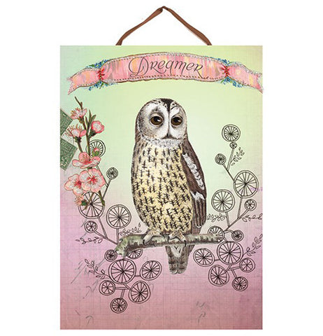 "Pink and green Art panel print with an owl print that says ""Dreamer"" on it."
