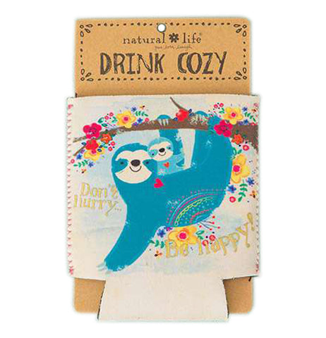 Drink cozy with blue sloth holding her cub while hanging from a flowered tree branch.